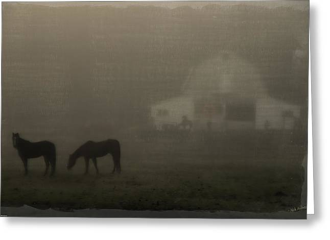 Antique Scene Of Horses In A Fog Greeting Card by Mick Anderson