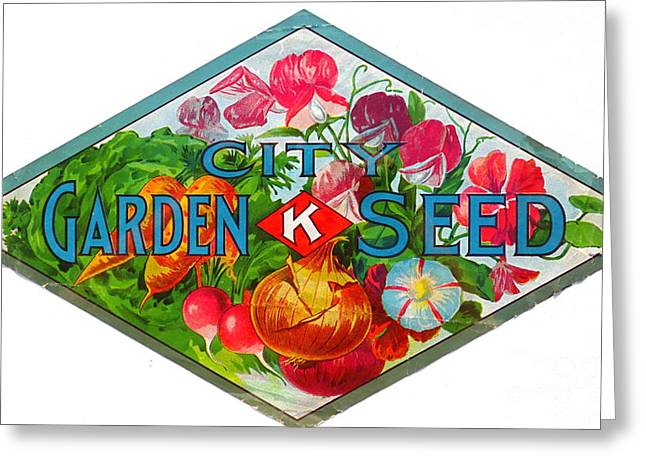 Antique Seed Box Label. Greeting Card by Robert Birkenes