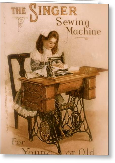 Antique Singer Sewing Machine Greeting Card by Julie Butterworth