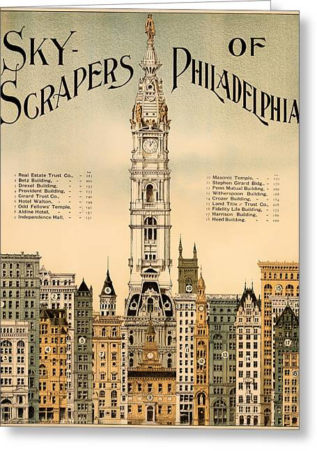 Antique Skyscrapers Of Philadelphia Poster 1898 Greeting Card