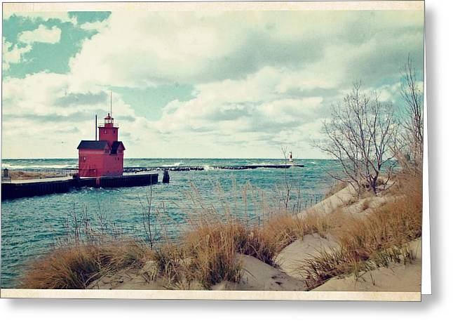 Antique Snapshot Series - Big Red Greeting Card by Michelle Calkins