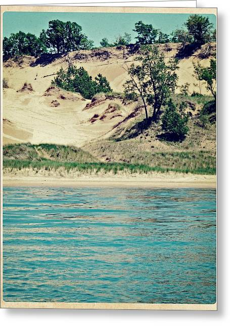Antique Snapshot Series - Dunes On Lake Michigan Greeting Card