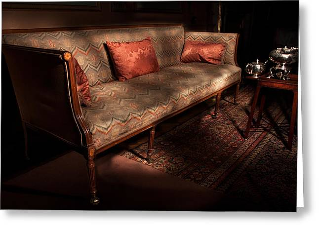 Antique Sofa And Tea Set Paxton House Greeting Card by Niall McWilliam