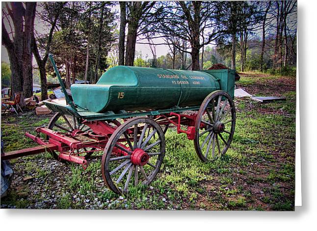 Antique Standard Oil Company Tanker Wagon Greeting Card by Kathy Clark