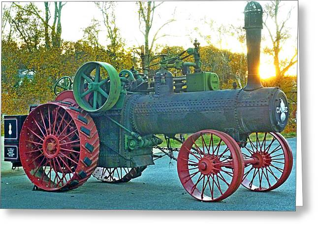 Antique Steam Tractor Greeting Card by Pete Trenholm