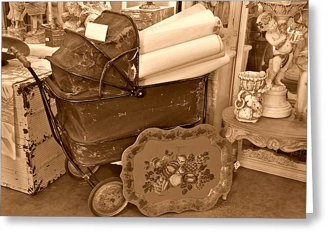 Antique Still Life With Baby Carriage And Other Objects In Sepia Greeting Card by Valerie Garner