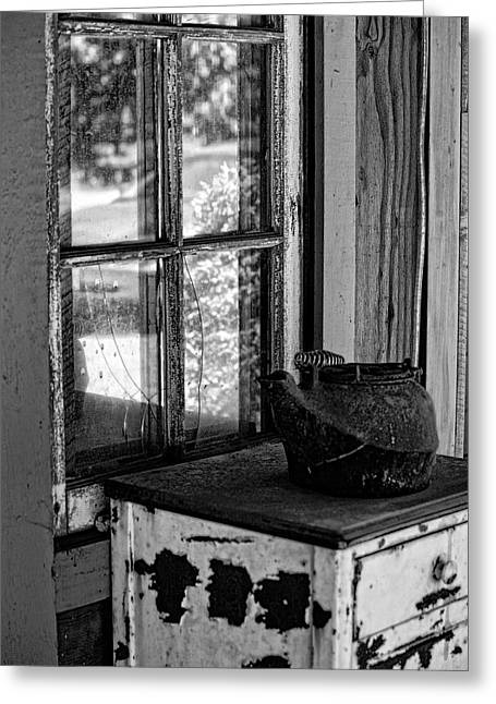 Antique Stove On Porch Greeting Card by Bonnie Bruno