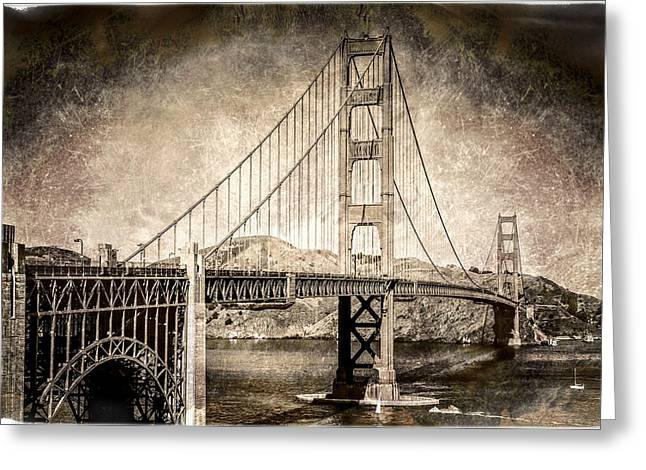 Antique Style Golden Gate Bridge From The South End Visitor Area.  Greeting Card