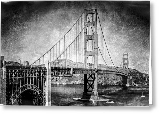 Antique Style Golden Gate Bridge In Black And White Greeting Card