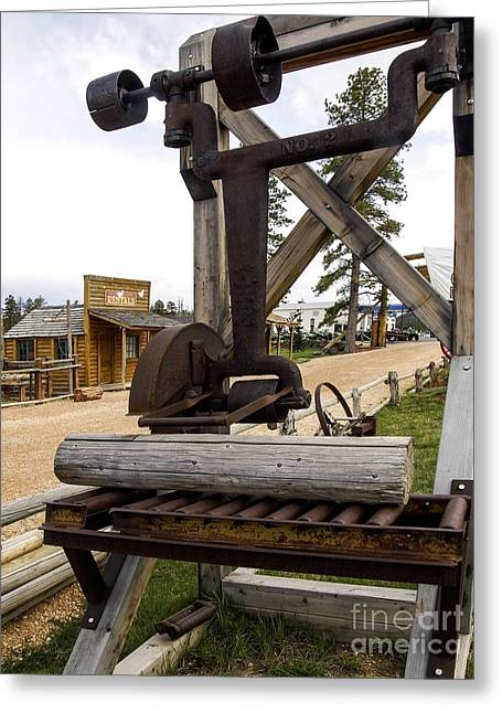 Greeting Card featuring the photograph Antique Table Saw Tool Wood Cutting Machine by Paul Fearn