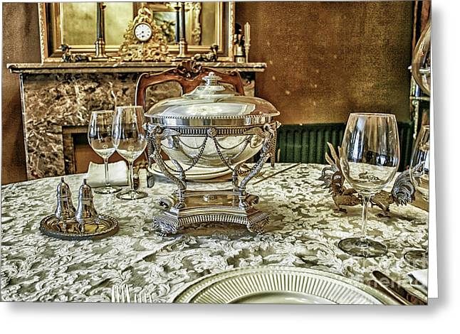 Antique Table Setting Greeting Card by Patricia Hofmeester