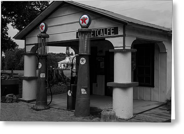Antique Texaco Visible Gas Pumps Greeting Card