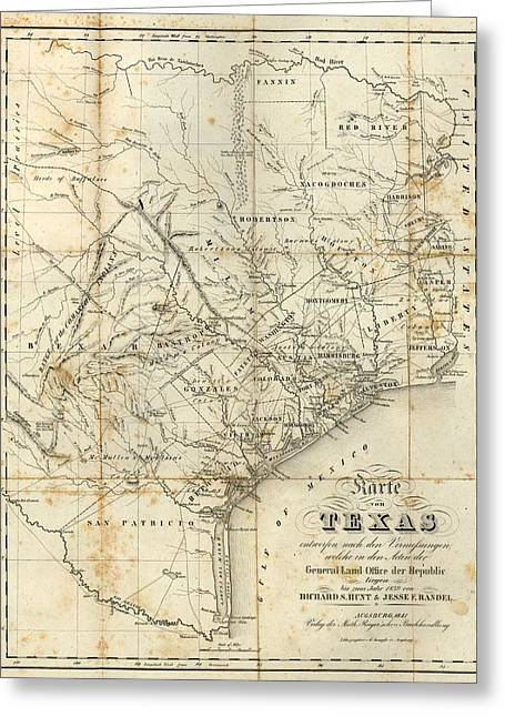 Antique Texas Map 1841 Greeting Card