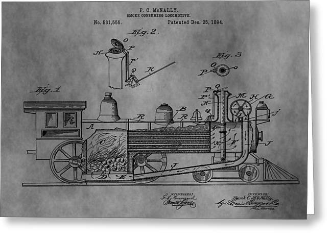 Antique Train Patent 1894 Greeting Card by Dan Sproul