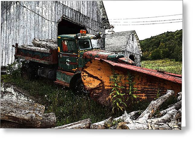 Antique Truck With Plow Greeting Card