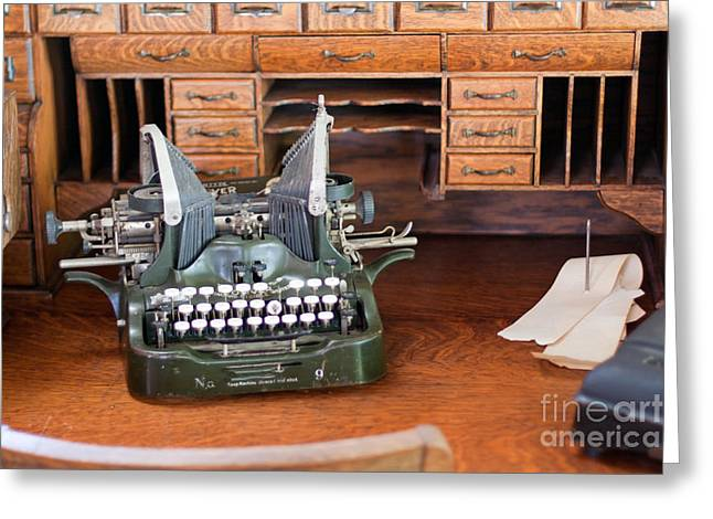 Greeting Card featuring the photograph Antique Type Writer On Desk by Gunter Nezhoda