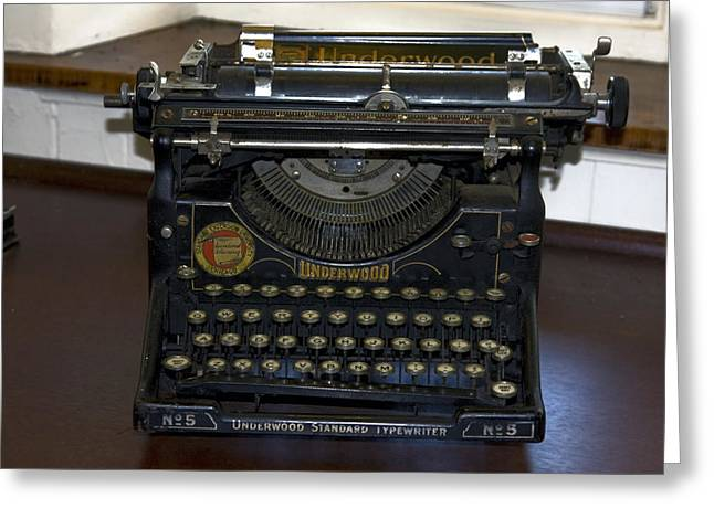 Antique Typewriter Greeting Card by Sally Weigand