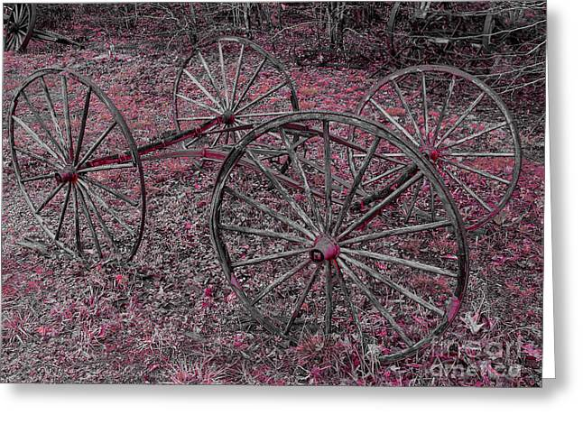 Greeting Card featuring the photograph Antique Wagon Wheels by Sherman Perry
