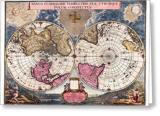 Greeting Card featuring the photograph Antique World Map 1695 Novus Planiglobii Terrestris Per Utrumque Polum Conspectus by Karon Melillo DeVega