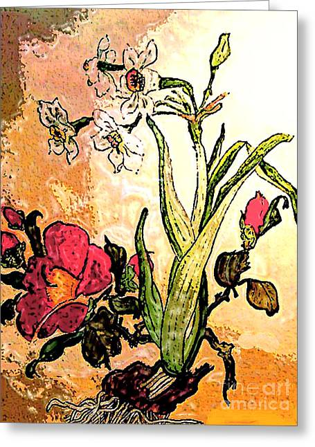 Antiqued Floral Watercolor Painting Greeting Card by Merton Allen