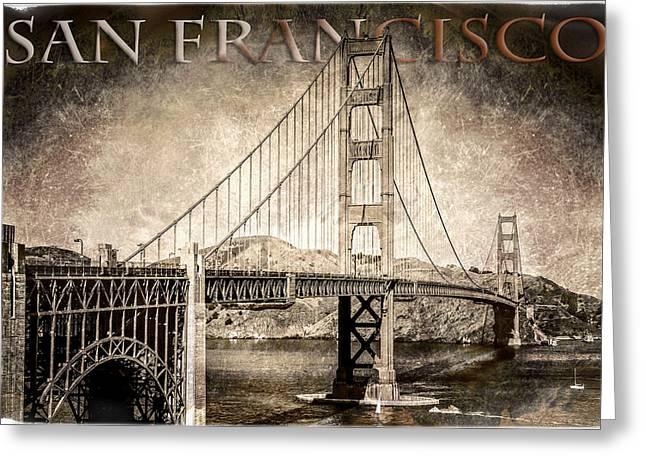 Antiqued Golden Gate Bridge - San Francisco  Greeting Card