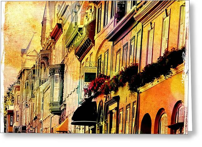 Antiqued Photograph Of Townhouses Greeting Card by Laura Carter