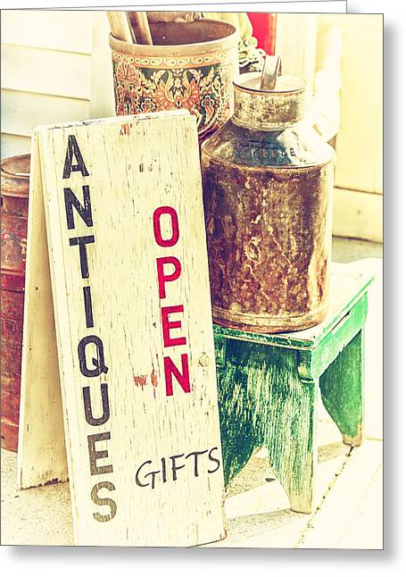 Antiques And Gifts Greeting Card by Karol Livote