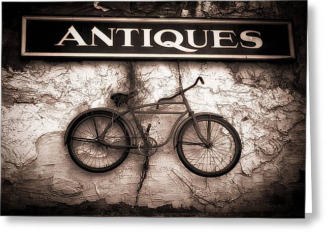 Antiques And The Old Bike Greeting Card by Bob Orsillo