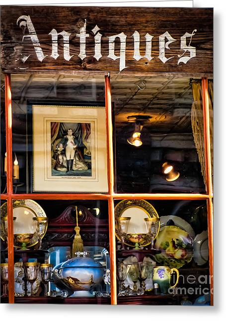 Antiques In The Window Greeting Card by Colleen Kammerer