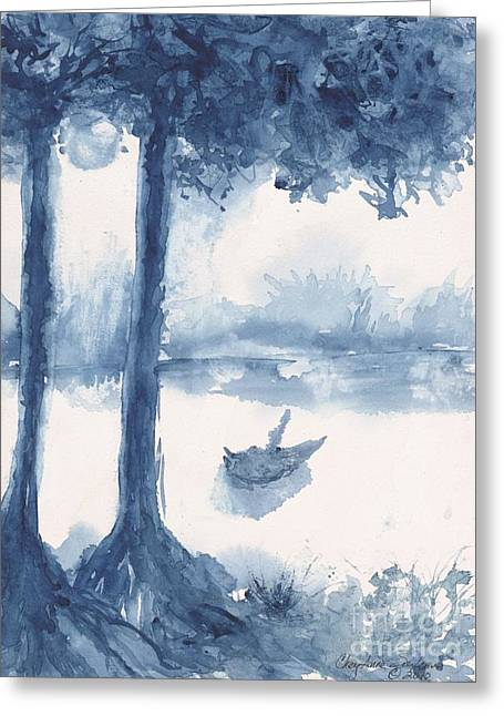 Antwerp Blue Landscape Watercolor Greeting Card by CheyAnne Sexton