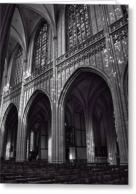 Antwerp Cathedral Greeting Card by Joan Carroll