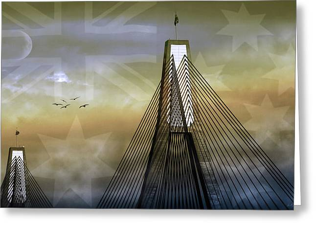 Anzac Bridge Greeting Card by Holly Kempe