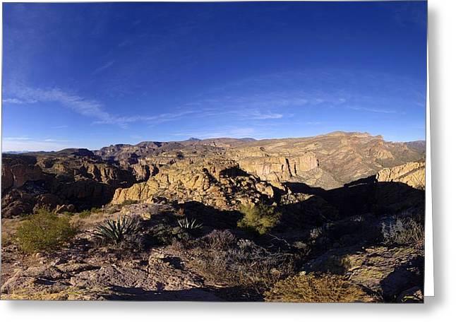 Apache Trail Overlook Panorama January 9 2013 Greeting Card by Brian Lockett
