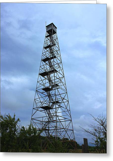 Apalachee Fire Tower In Morgan County Greeting Card by Reid Callaway
