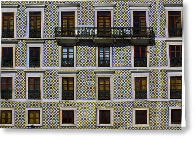 Apartment Block In Lisbon  Greeting Card