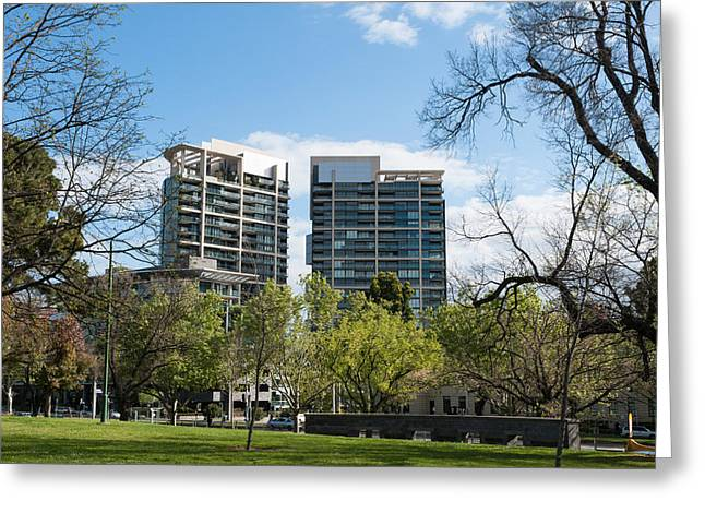 Apartment Buildings Along St. Kilda Greeting Card by Panoramic Images