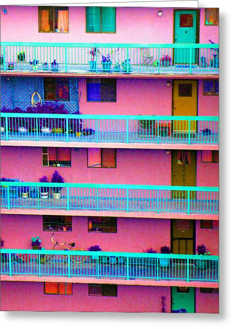Apartments Greeting Card by Laurie Tsemak