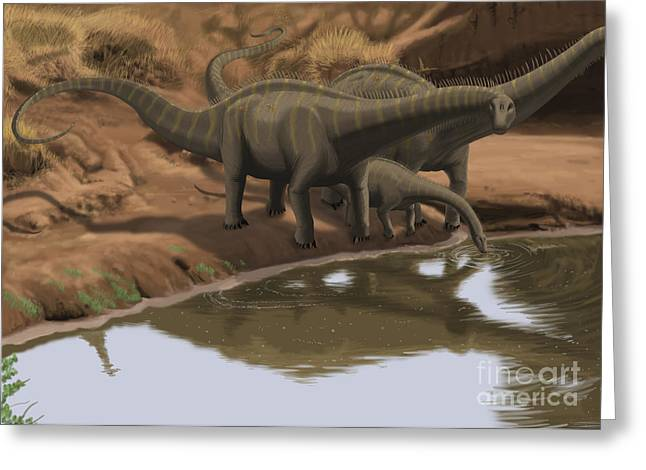 Apatosaurus Dinosaurs Drinking Water Greeting Card