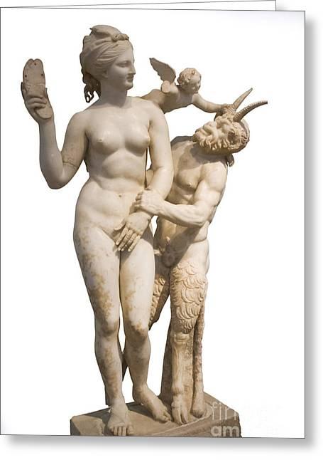 Aphrodite Pan And Eros Greeting Card by Ilan Rosen