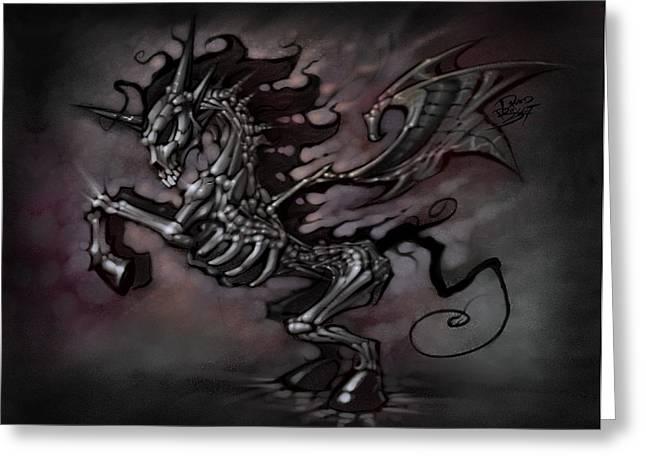 0a17087a4a2 Greeting Card featuring the digital art Apocalypse Unicorn by David Bollt
