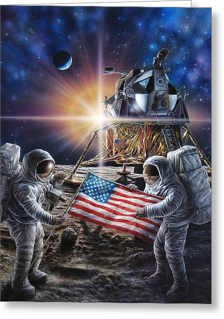 Apollo 11 Greeting Card by Don Dixon