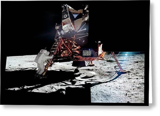 Apollo 11 Moon Landing Greeting Card by Nasa/detlev Van Ravenswaay