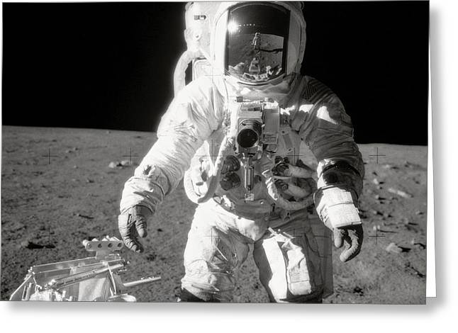 Apollo 12 Moonwalk - 1969 Greeting Card by World Art Prints And Designs