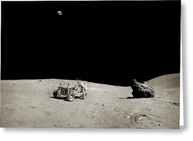 Apollo 16 Lunar Rover Greeting Card by Nasa/detlev Van Ravenswaay