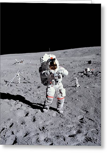 Apollo 16 Moowalk Greeting Card by Nasa
