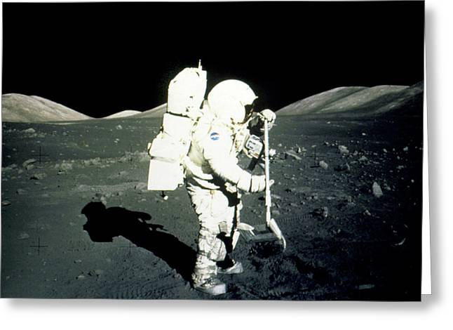 Apollo 17 Astronaut Collecting Lunar Rock Samples Greeting Card by Nasa/science Photo Library