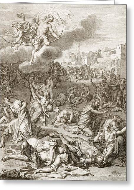 Apollo And Diana Kill Niobe's Children Greeting Card