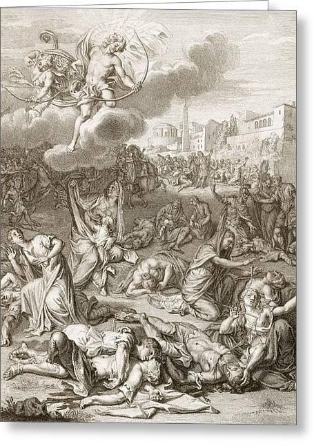 Apollo And Diana Kill Niobe's Children Greeting Card by Bernard Picart