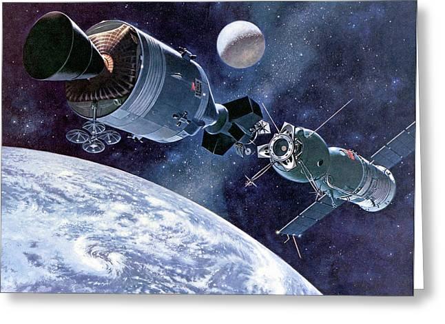 Apollo Soyuz Test Project In Orbit Greeting Card by Davis Meltzer/nasa