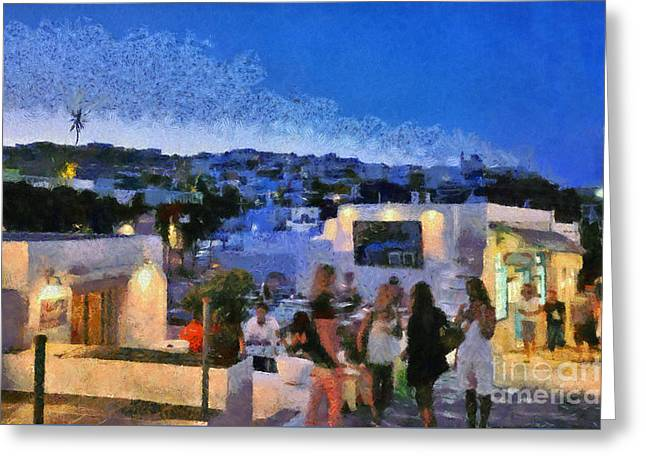 Apollonia Town During Dusk Time Greeting Card